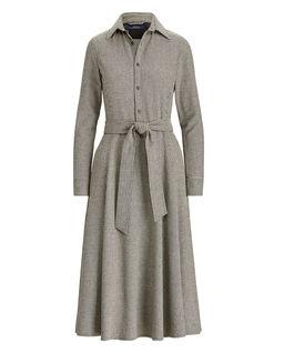 Vlněné šaty s kohoutí stopou