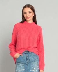 Koralowy sweter z wełną alpaki