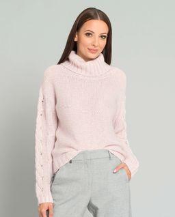 Różowy sweter z wełną alpaki