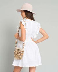 Biała sukienka z falbanami Capri