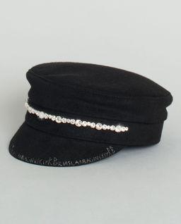 Czarny kaszkiet z kryształkami