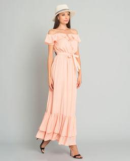 Brzoskwiniowa sukienka z jedwabiu Ravello