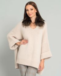 Beżowy sweter z naturalnym futrem