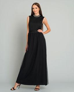 Czarna tiulowa sukienka maxi