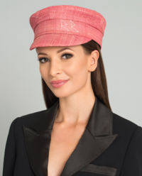 Růžová, slaměná čepice se štítkem
