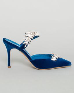 Niebieskie mule Lurum z kryształami Swarovskiego
