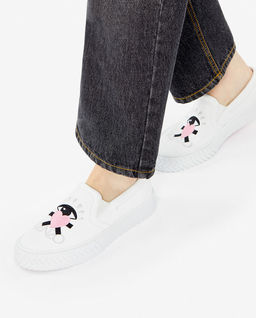 Białe trampki Slip-on