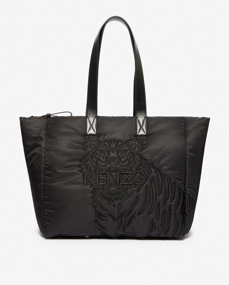Czarna torba shopper z tygrysem