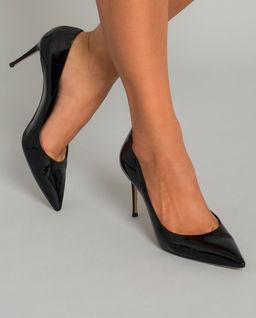 Czarne lakierowane szpilki Tiffany