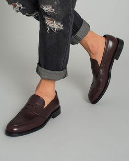 Brązowe loafery ze skóry