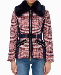 Płaszcz w kratę z ekologicznym futem