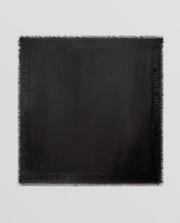 Czarny szal z jedwabiu i wełny