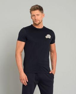 Granatowy t-shirt z naszywkami