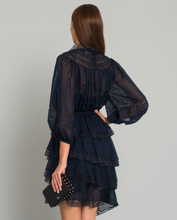 Granatowa sukienka mini z jedwabiu
