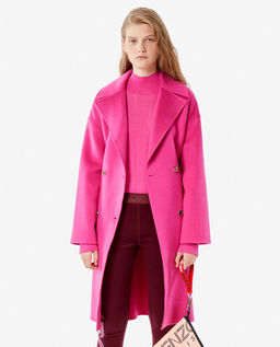 Różowy płaszcz z wełną i kaszmirem