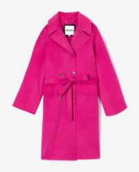 Růžový kabát s vlnou a kašmírem