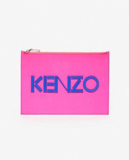 Różowa kopertówka ze skóry