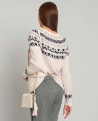 Różowy sweter we wzory