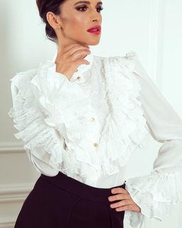 Koronkowa koszula z falbanami White Pearl