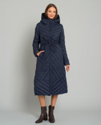 Puchowy płaszcz z kapturem