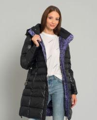 Péřový, oboustranný kabát s kapucí