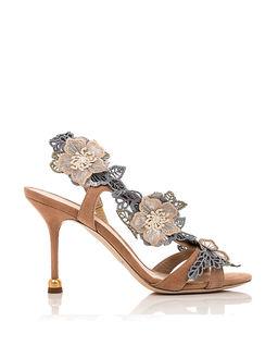 Zamszowe sandały z kwiatami Natalia