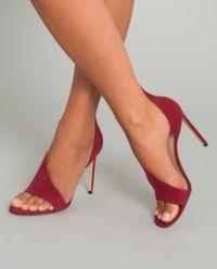 Bordowe szpilki open toe