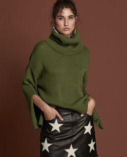 Zelený svetr s rolákem Winona