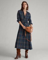 Sukienka w kratę z bawełny