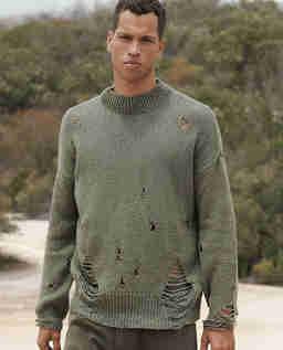 Sweter z dziurami khaki