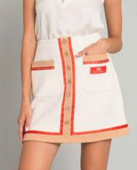 Biała spódnica mini z logo