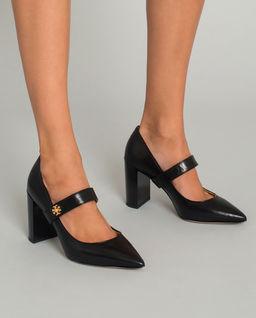 Skórzane buty na obcasie