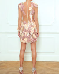 Sukienka z francuską koronką i kwiatami Lantana