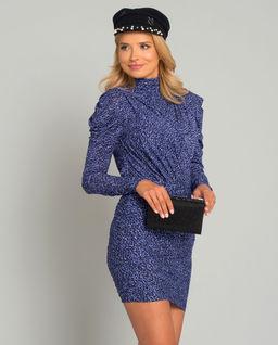 Fioletowa sukienka w cętki