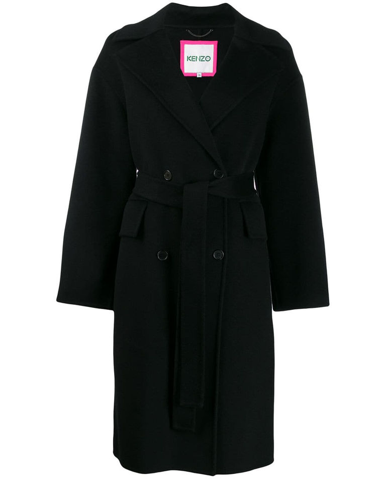 Czarny płaszcz z wełną i kaszmirem