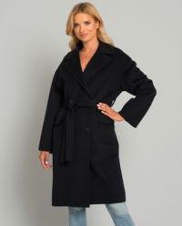 Černý kabát s vlnou a kašmírem