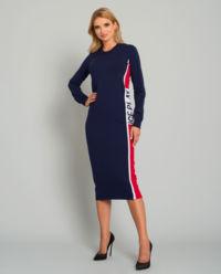 Granatowa sukienka z logo
