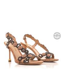 Zamszowe sandały z kryształami Marta