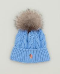 Niebieska czapka z pomponem