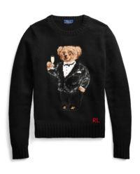 Wełniany sweter z misiem polo