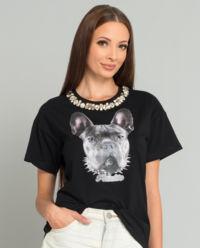 Černé tričko s motivem psa