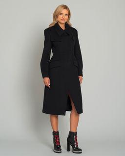 Czarny płaszcz z wełny