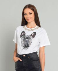 Biały t-shirt z motywem psa