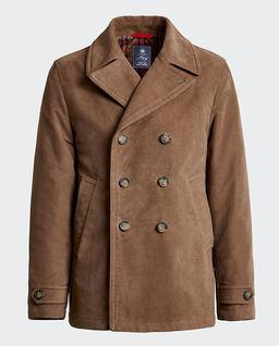 Brązowy płaszcz dwurzędowy