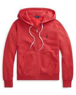 Červená mikina s kapucí