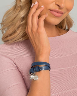 Niebieska bransoletka ze skóry
