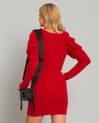 Wełniana sukienka z bufiastymi rękawami