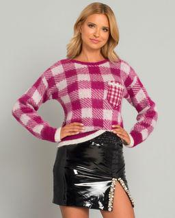 Sweter w kratę z kieszenią