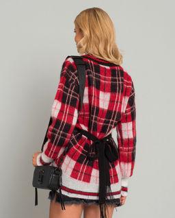 Sweter w kratę z wiązaniem