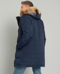 Długa kurtka puchowa z futrem